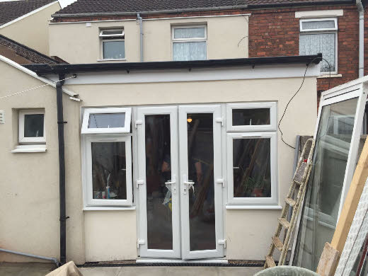 New extension fitted with french doors to rear of customers house